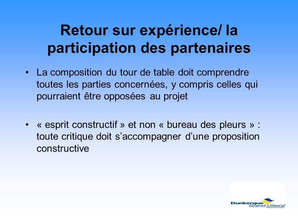 Retour sur expérience/ la participation des partenaires