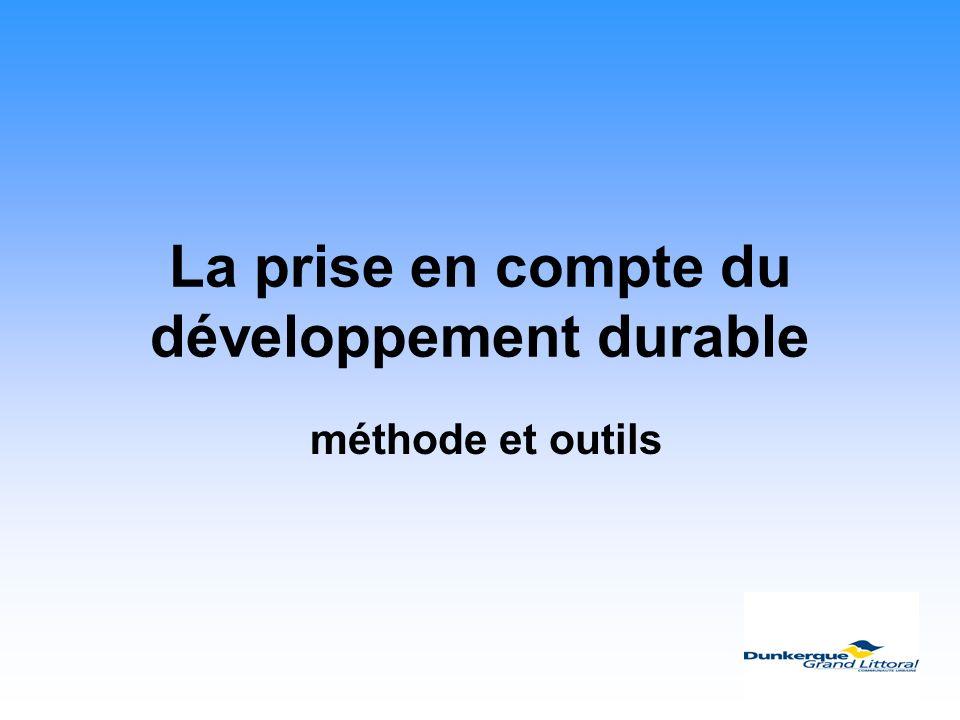 La prise en compte du développement durable