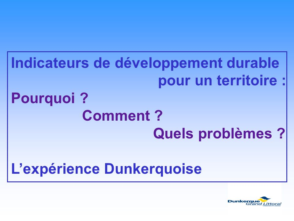 Indicateurs de développement durable