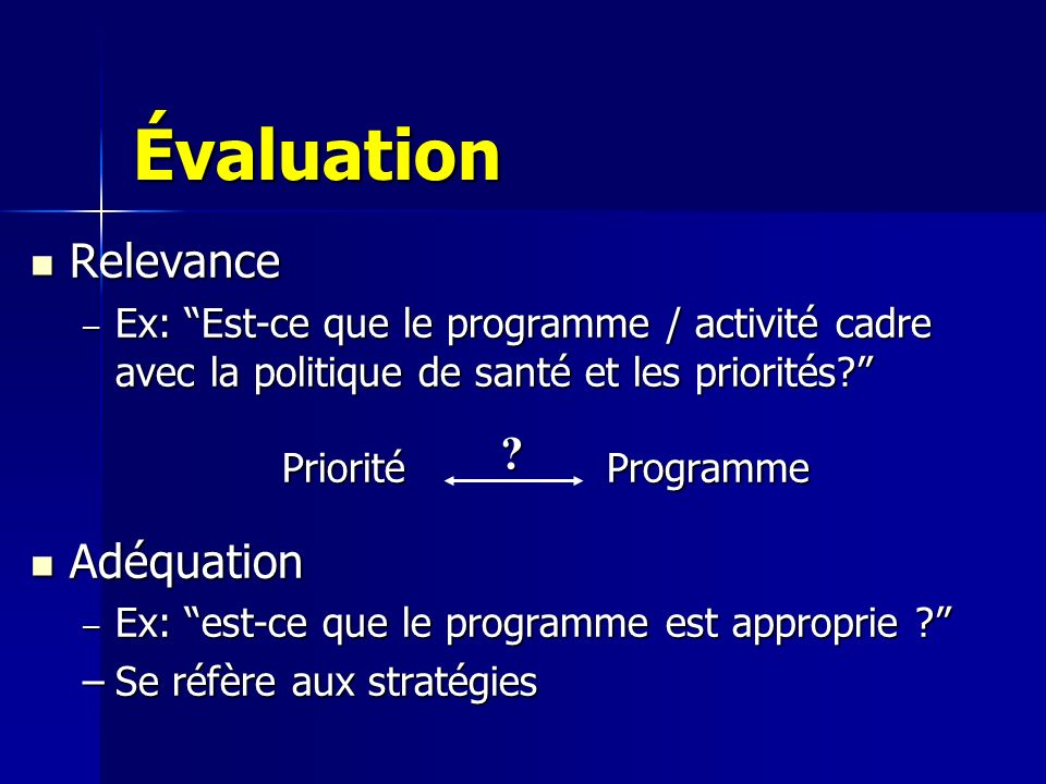 Évaluation Relevance Adéquation