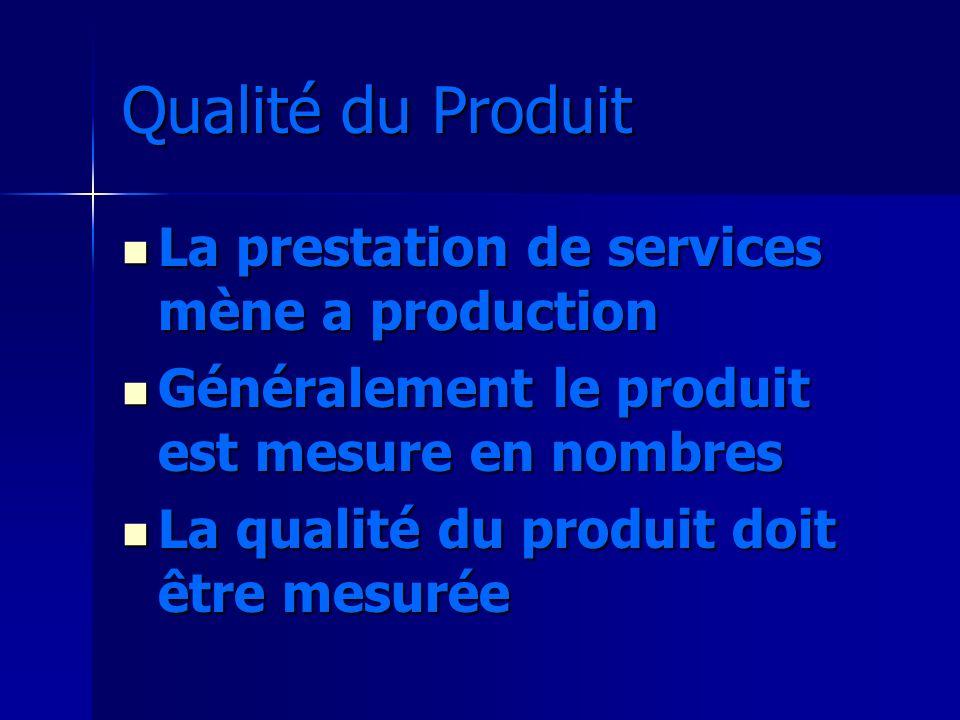 Qualité du Produit La prestation de services mène a production