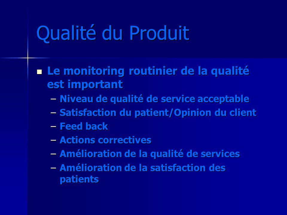 Qualité du Produit Le monitoring routinier de la qualité est important