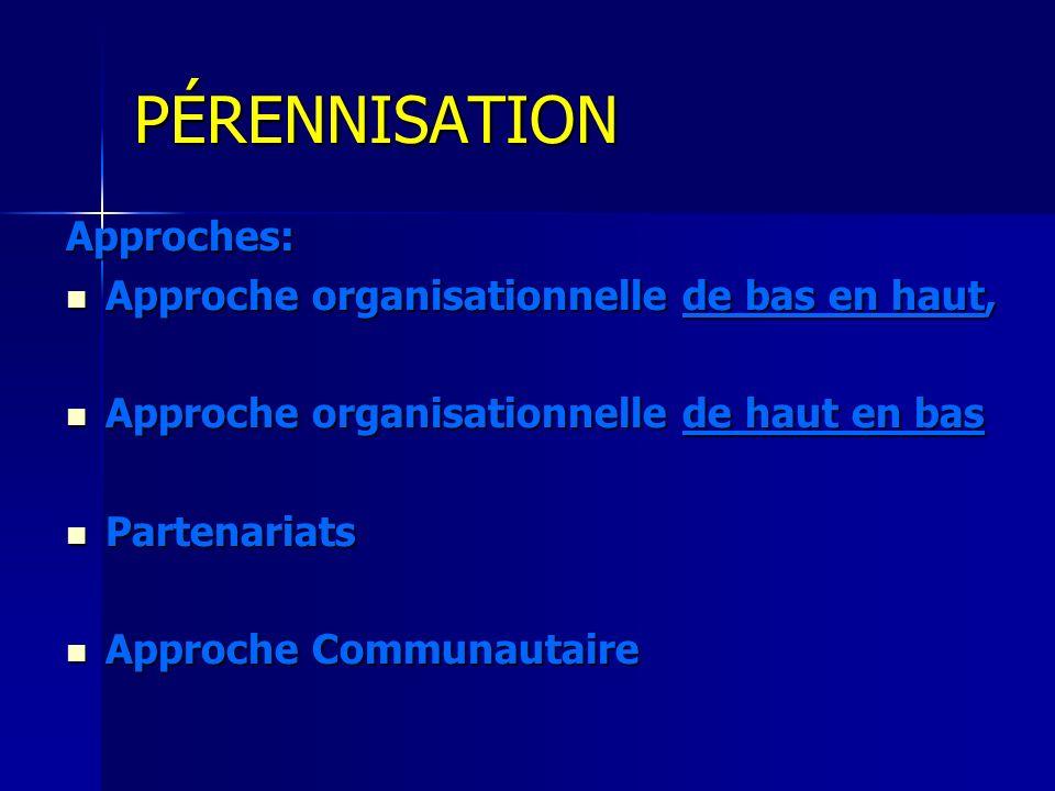 PÉRENNISATION Approches: Approche organisationnelle de bas en haut,