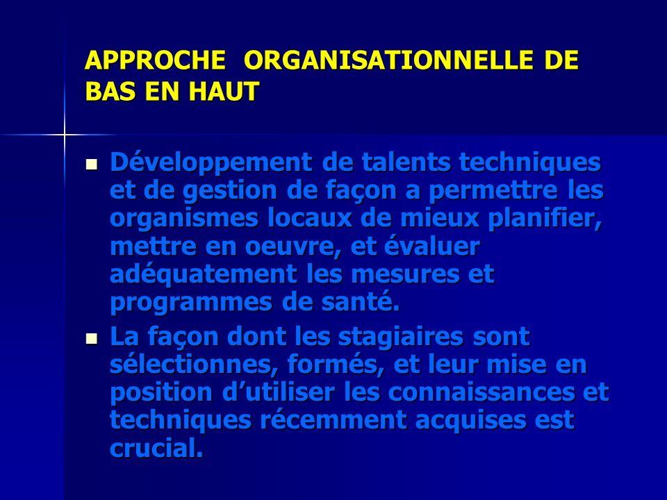 APPROCHE ORGANISATIONNELLE DE BAS EN HAUT