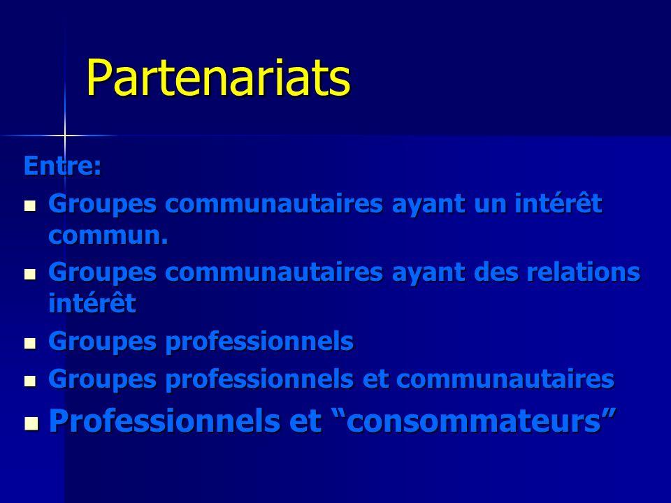 Partenariats Professionnels et consommateurs Entre: