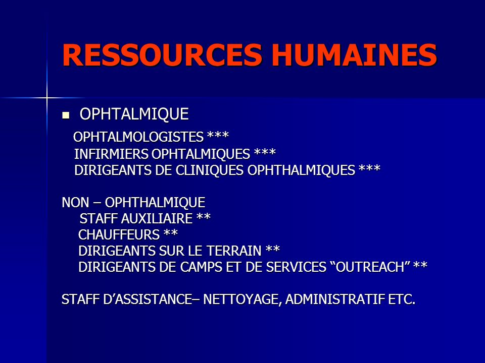 RESSOURCES HUMAINES OPHTALMOLOGISTES *** OPHTALMIQUE