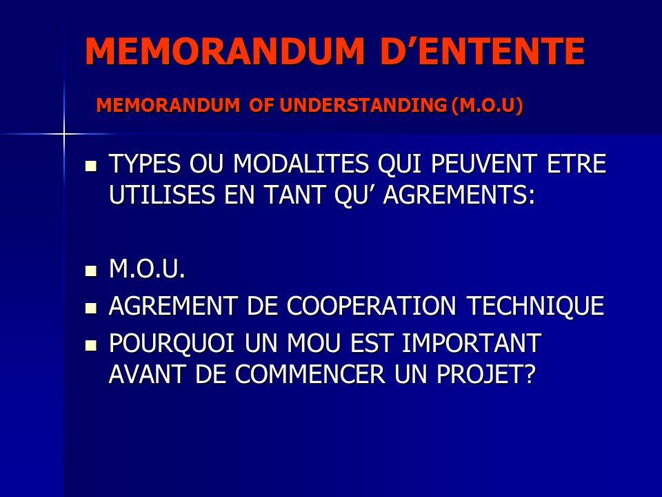 MEMORANDUM D'ENTENTE MEMORANDUM OF UNDERSTANDING (M.O.U)