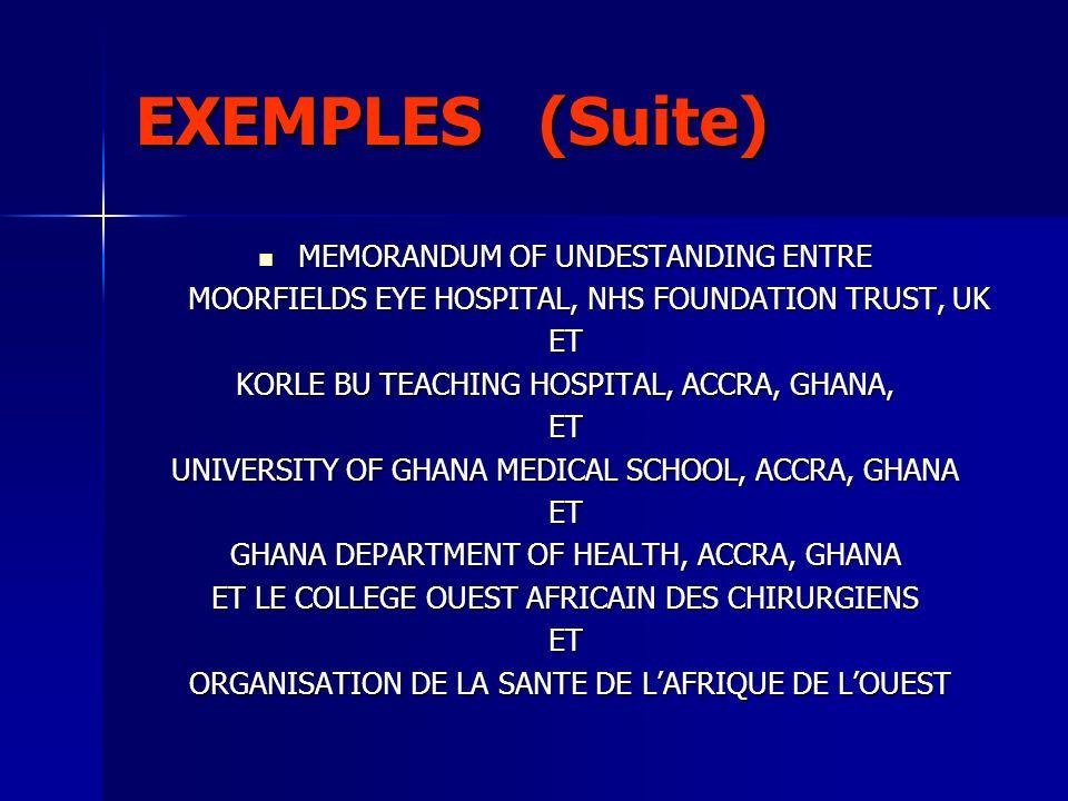 EXEMPLES (Suite) MEMORANDUM OF UNDESTANDING ENTRE