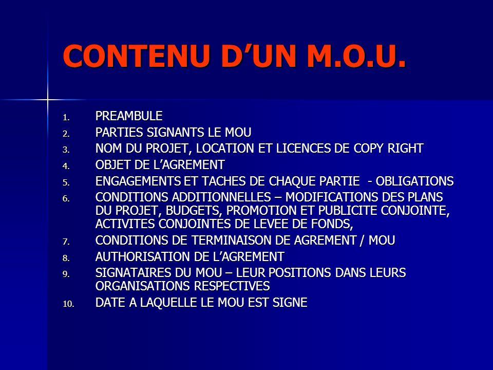 CONTENU D'UN M.O.U. PREAMBULE PARTIES SIGNANTS LE MOU
