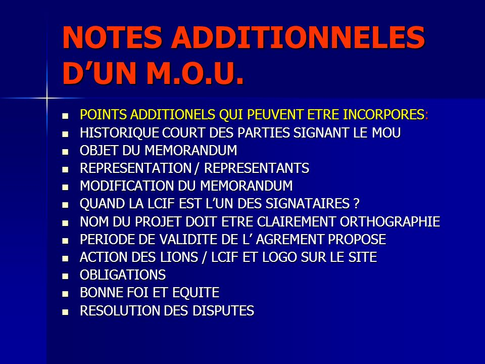 NOTES ADDITIONNELES D'UN M.O.U.