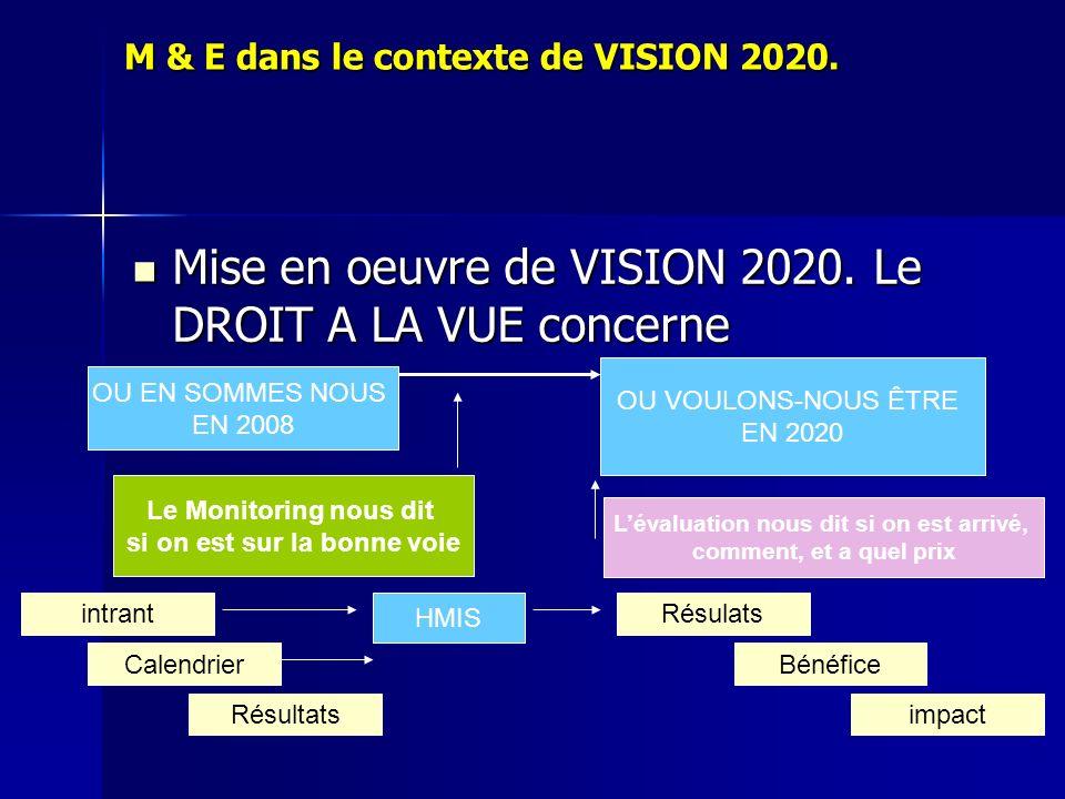 M & E dans le contexte de VISION 2020.
