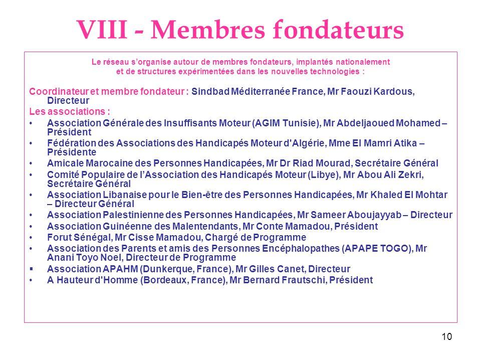 VIII - Membres fondateurs