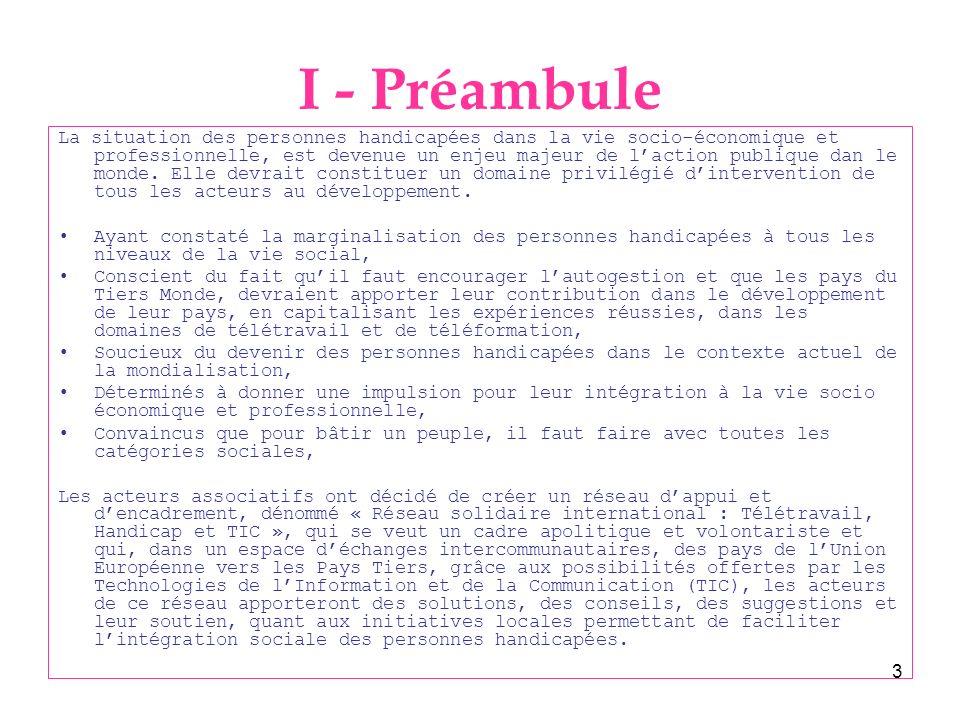 I - Préambule