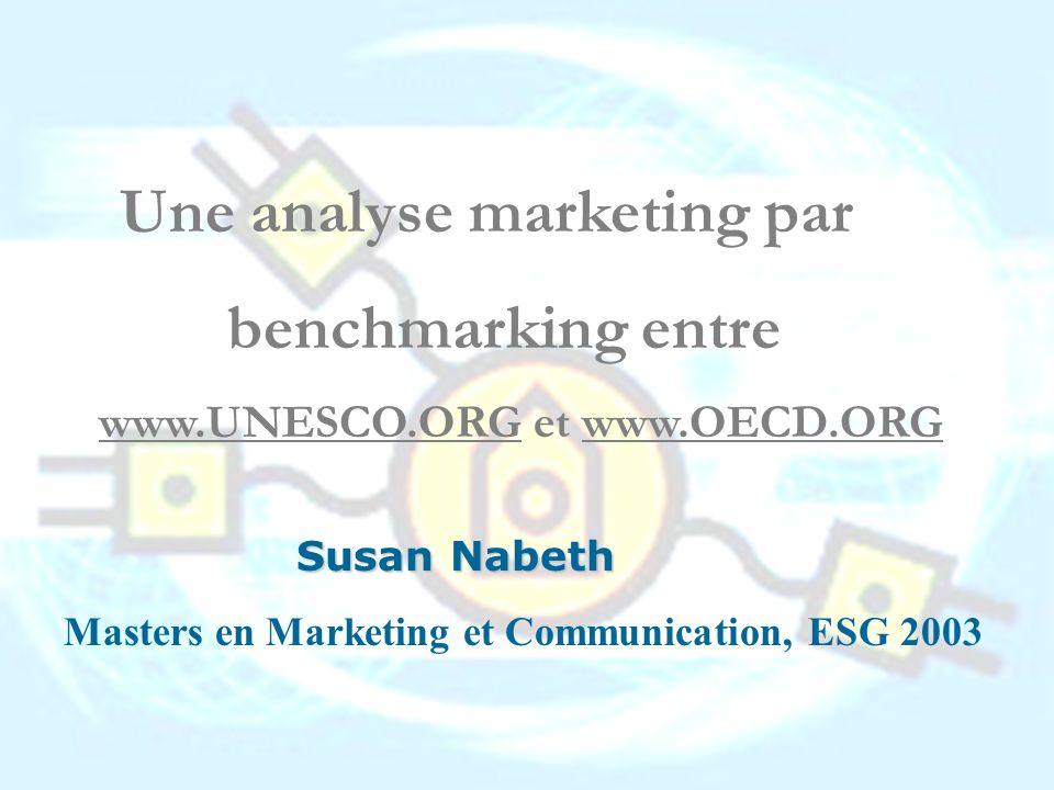 benchmarking entre www.UNESCO.ORG et www.OECD.ORG