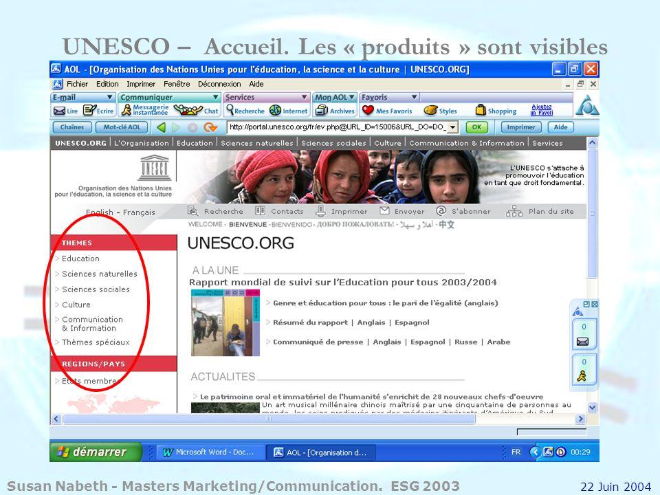 UNESCO – Accueil. Les « produits » sont visibles