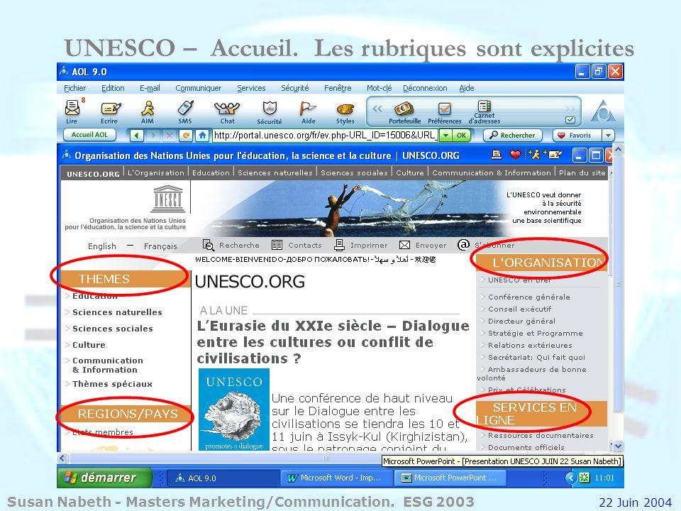 UNESCO – Accueil. Les rubriques sont explicites
