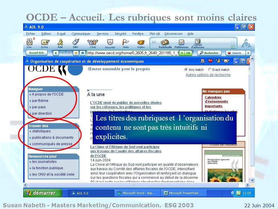 OCDE – Accueil. Les rubriques sont moins claires