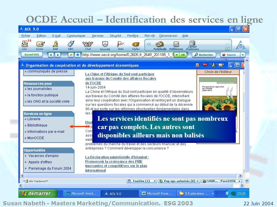 OCDE Accueil – Identification des services en ligne
