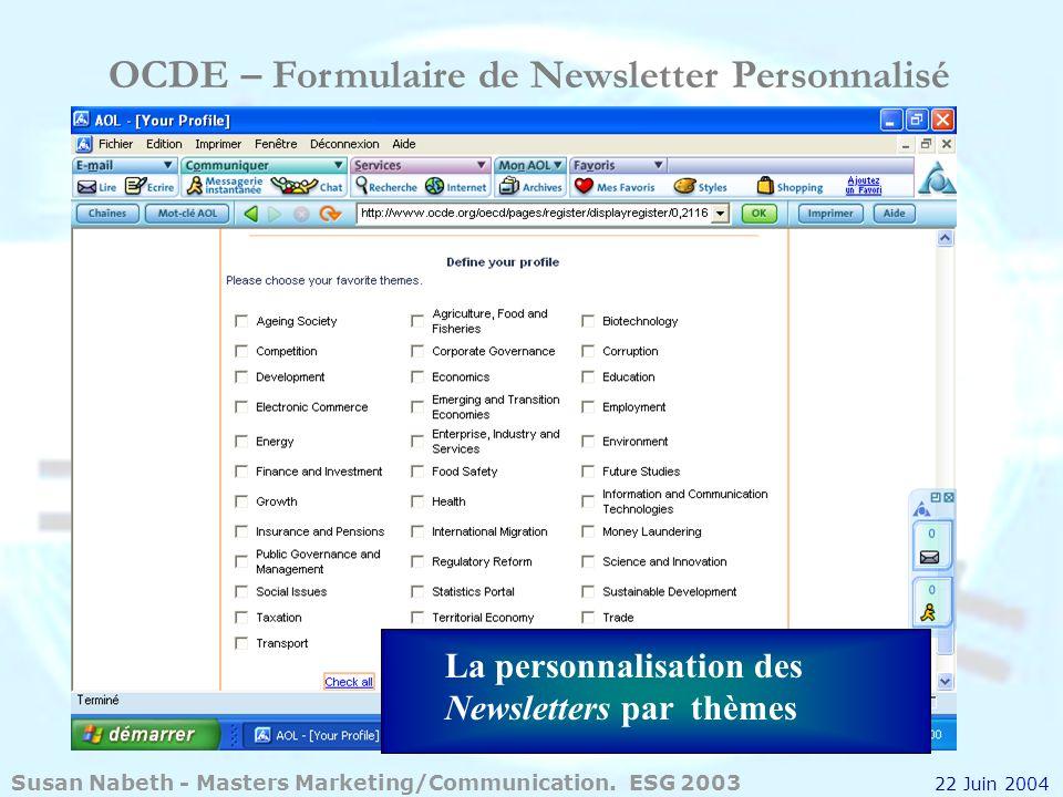 OCDE – Formulaire de Newsletter Personnalisé