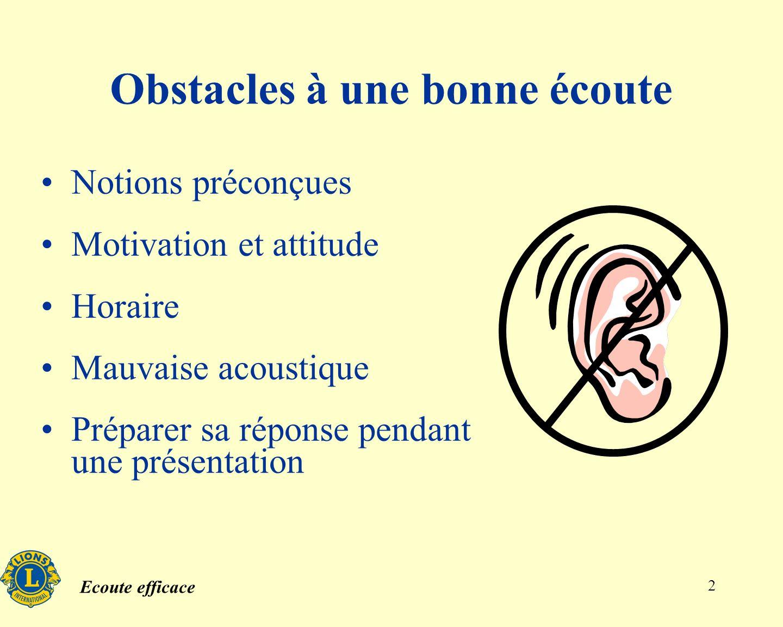Obstacles à une bonne écoute