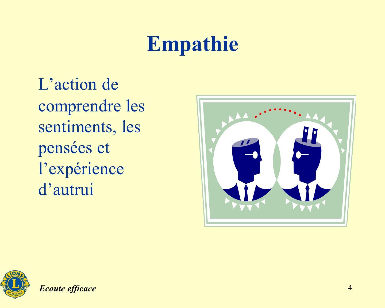 Empathie L'action de comprendre les sentiments, les pensées et l'expérience d'autrui
