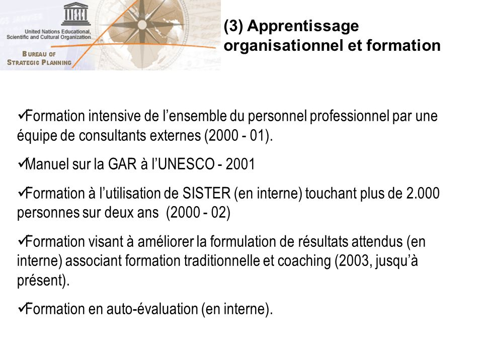 (3) Apprentissage organisationnel et formation