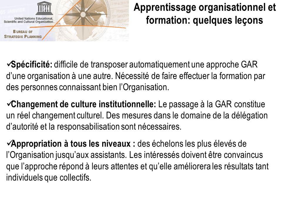 Apprentissage organisationnel et formation: quelques leçons