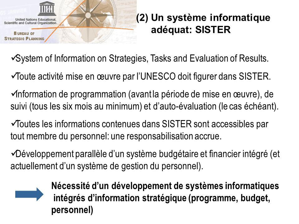 (2) Un système informatique adéquat: SISTER