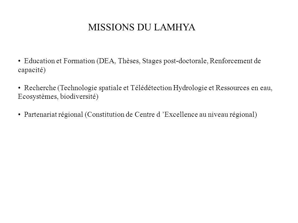 MISSIONS DU LAMHYA Education et Formation (DEA, Thèses, Stages post-doctorale, Renforcement de capacité)