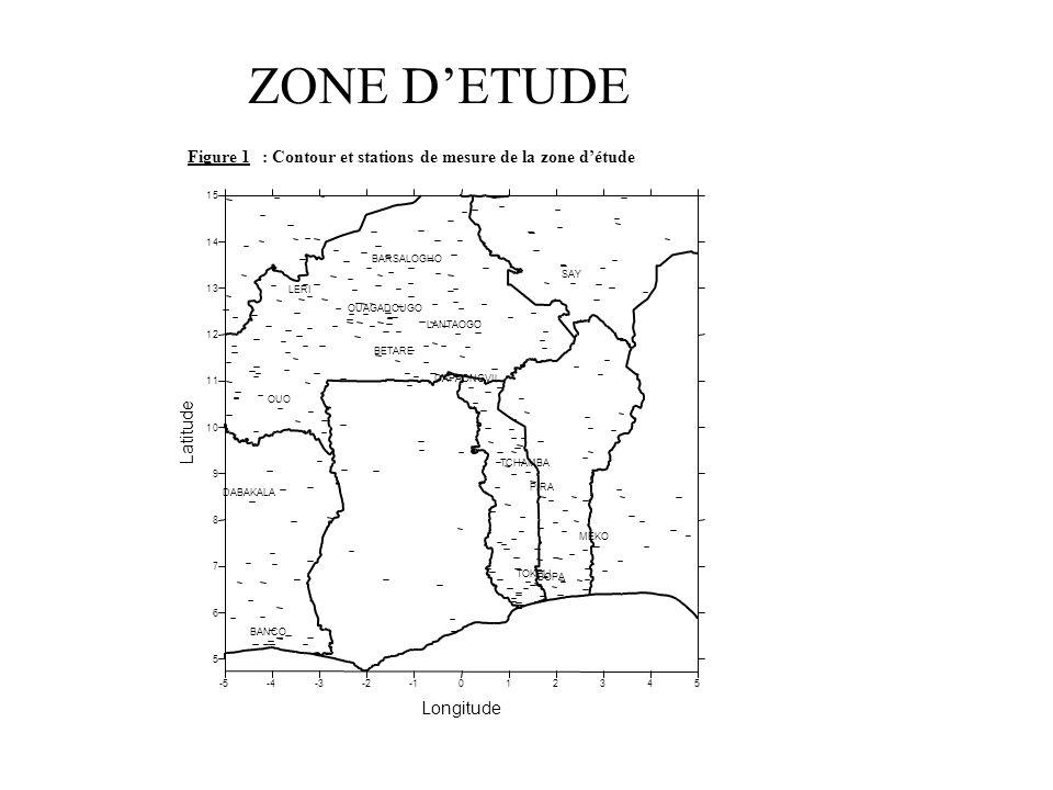 Figure 1 : Contour et stations de mesure de la zone d'étude. -5. -4. -3. -2. -1. 1. 2. 3. 4.