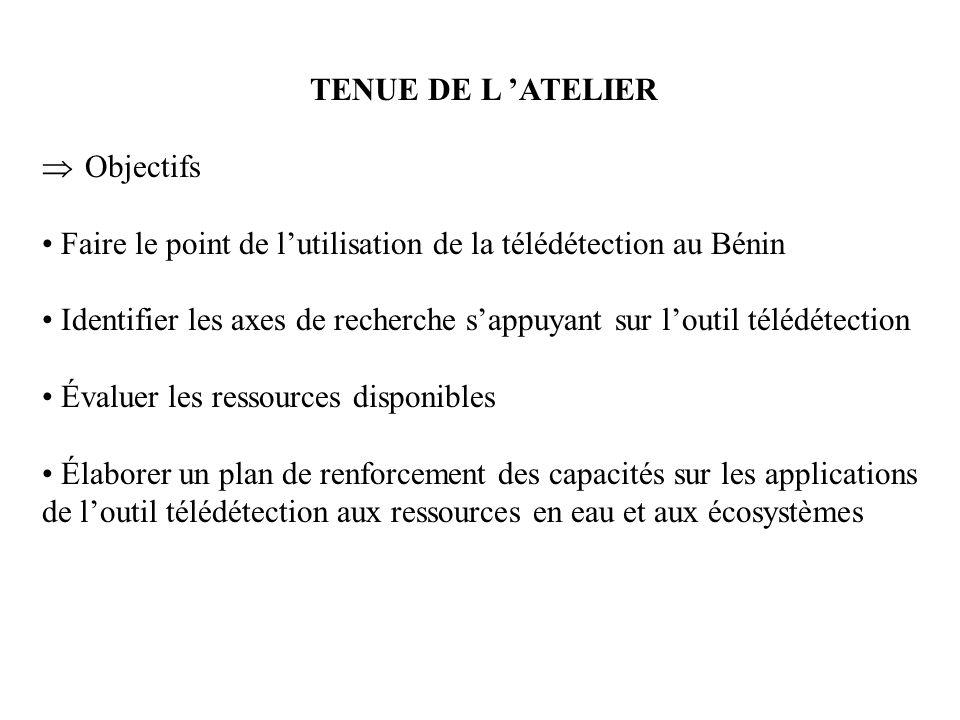 TENUE DE L 'ATELIER Objectifs. Faire le point de l'utilisation de la télédétection au Bénin.