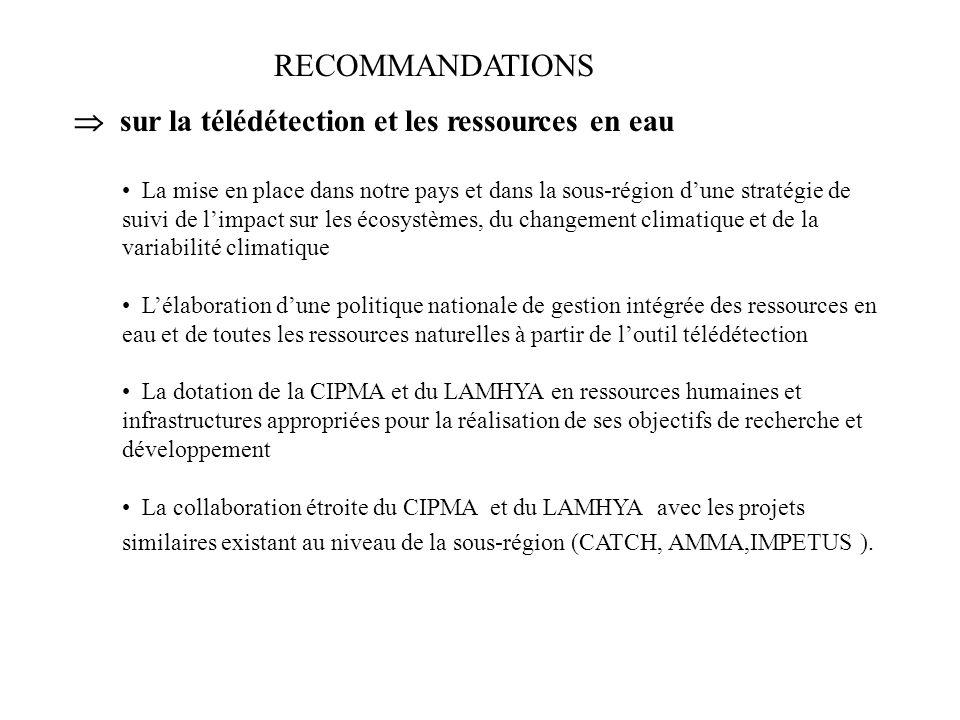 RECOMMANDATIONS  sur la télédétection et les ressources en eau