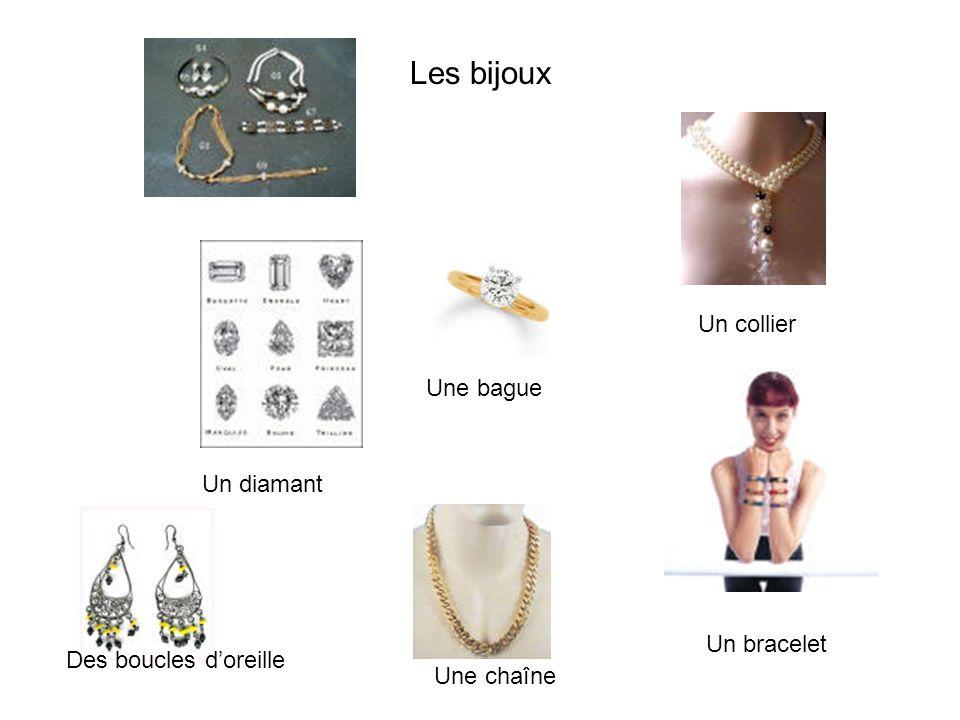 Les bijoux Un collier Une bague Un diamant Un bracelet