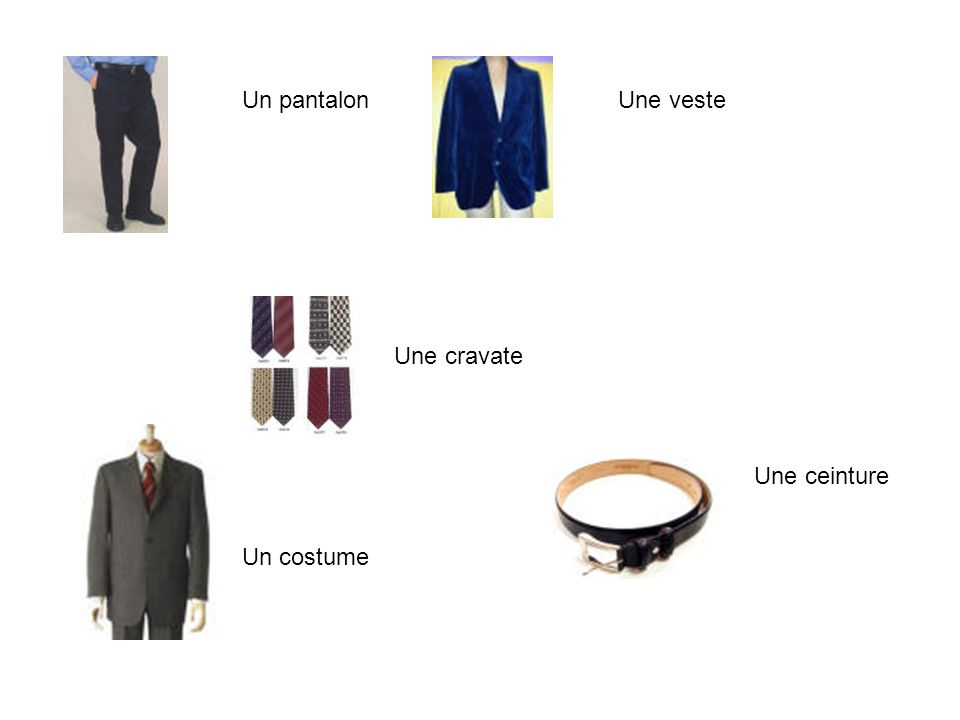 Un pantalon Une veste Une cravate Une ceinture Un costume
