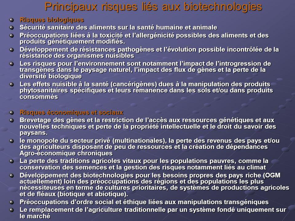 Principaux risques liés aux biotechnologies