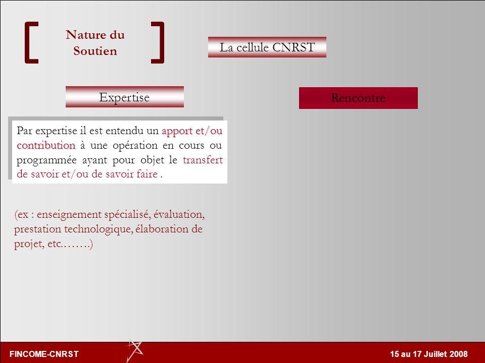 Nature du Soutien La cellule CNRST Expertise Rencontre