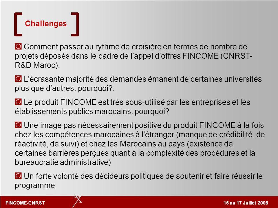 ChallengesComment passer au rythme de croisière en termes de nombre de projets déposés dans le cadre de l'appel d'offres FINCOME (CNRST-R&D Maroc).