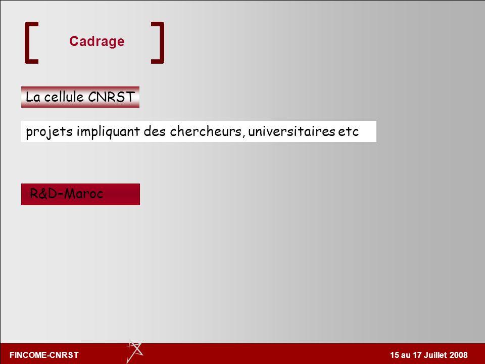Cadrage La cellule CNRST projets impliquant des chercheurs, universitaires etc R&D–Maroc