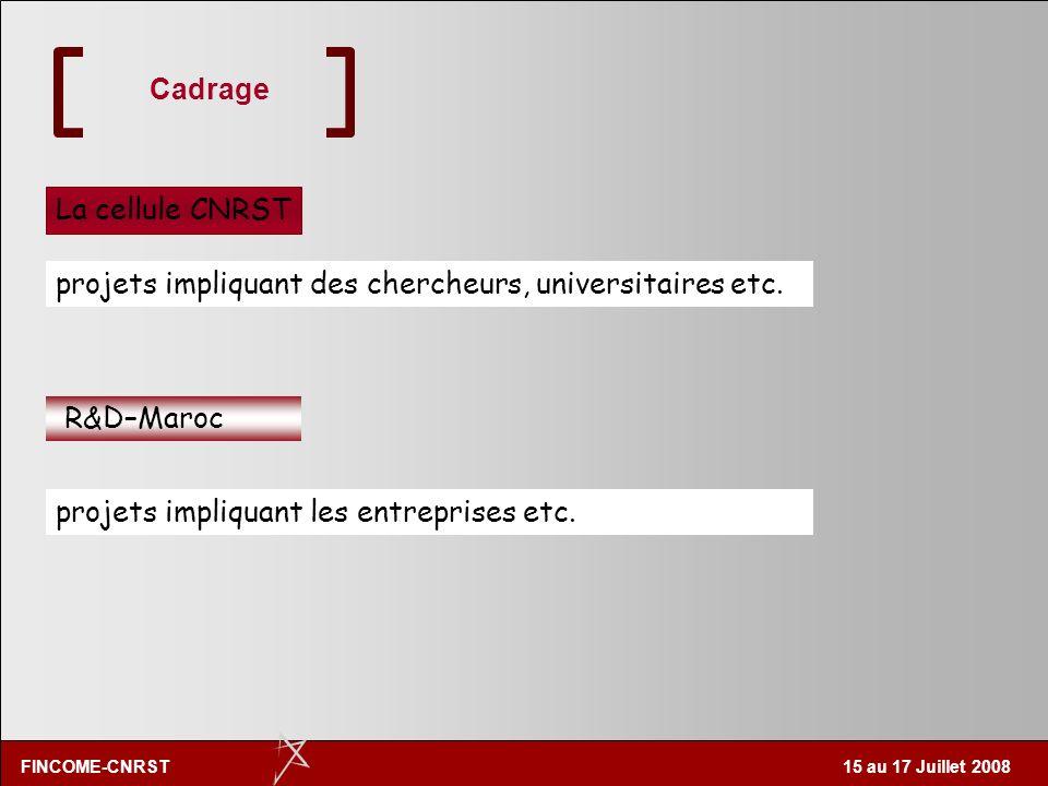 CadrageLa cellule CNRST.projets impliquant des chercheurs, universitaires etc.
