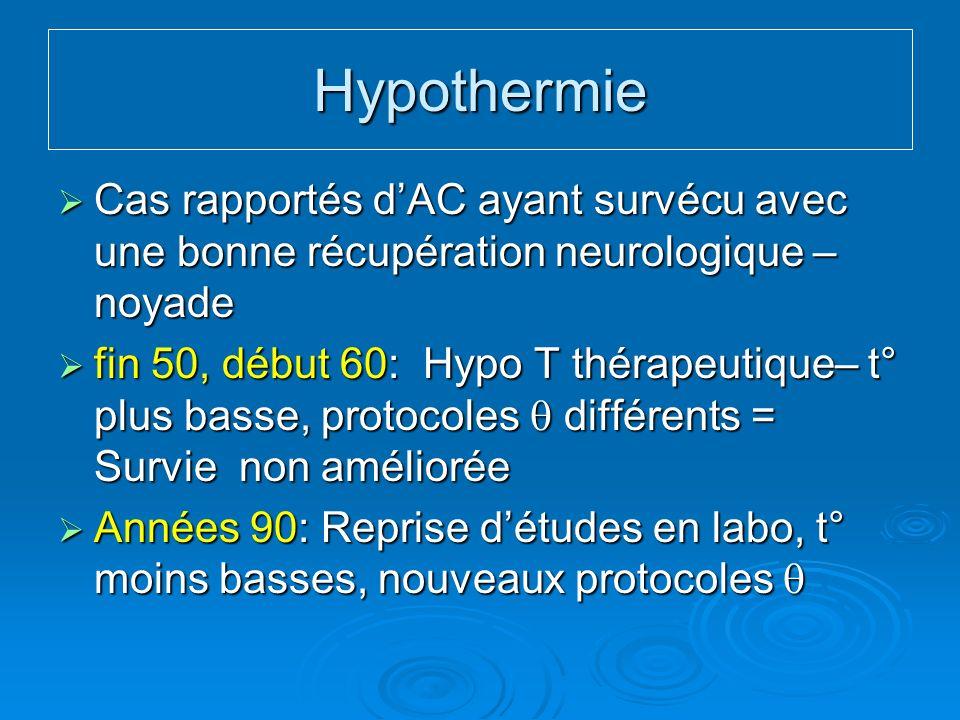 Hypothermie Cas rapportés d'AC ayant survécu avec une bonne récupération neurologique – noyade.