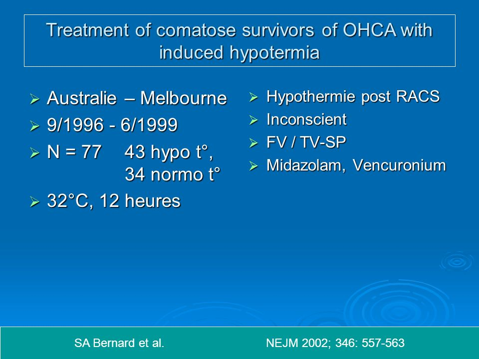 Treatment of comatose survivors of OHCA with induced hypotermia