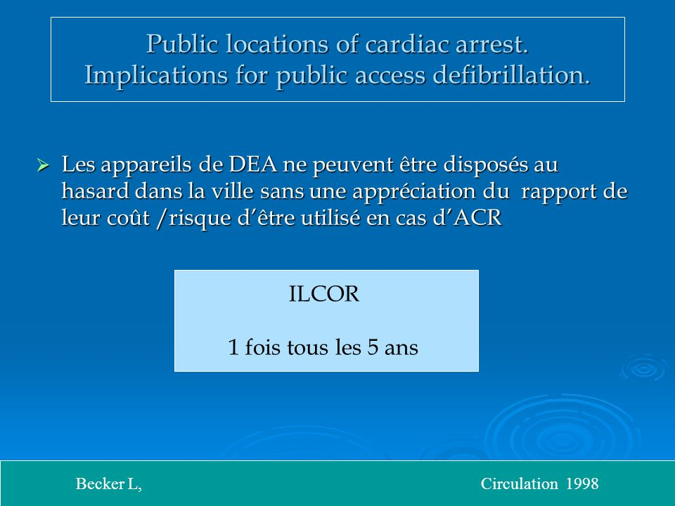 Public locations of cardiac arrest