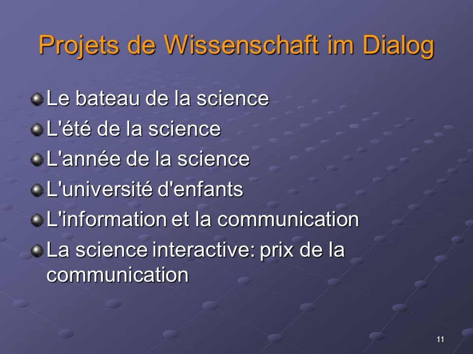 Projets de Wissenschaft im Dialog