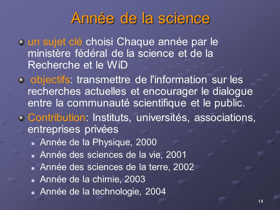 Année de la science un sujet clé choisi Chaque année par le ministère fédéral de la science et de la Recherche et le WiD.
