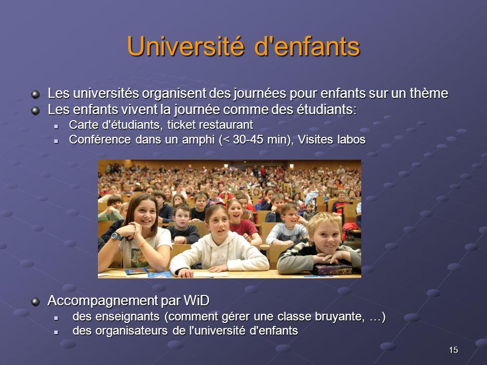 Université d enfants Les universités organisent des journées pour enfants sur un thème. Les enfants vivent la journée comme des étudiants: