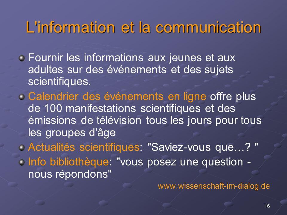 L information et la communication
