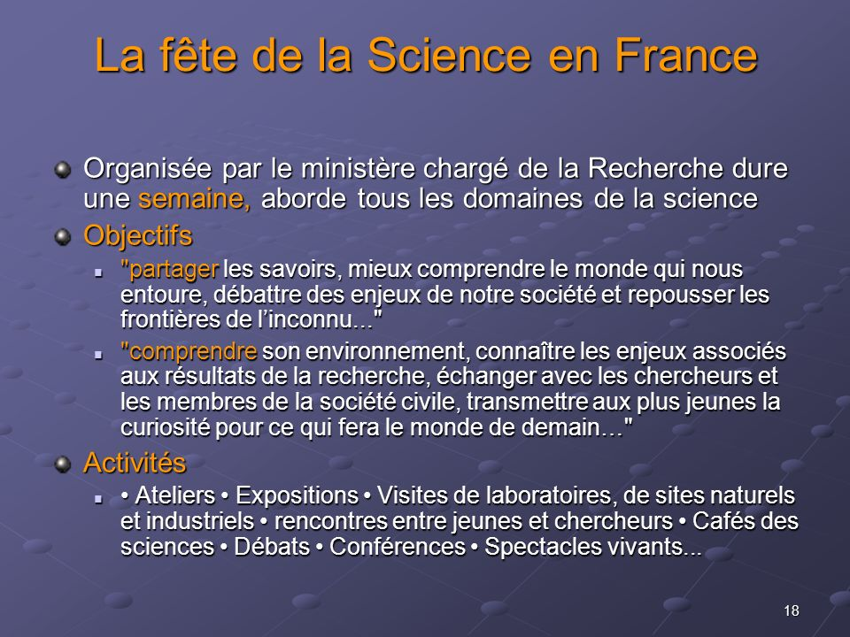 La fête de la Science en France