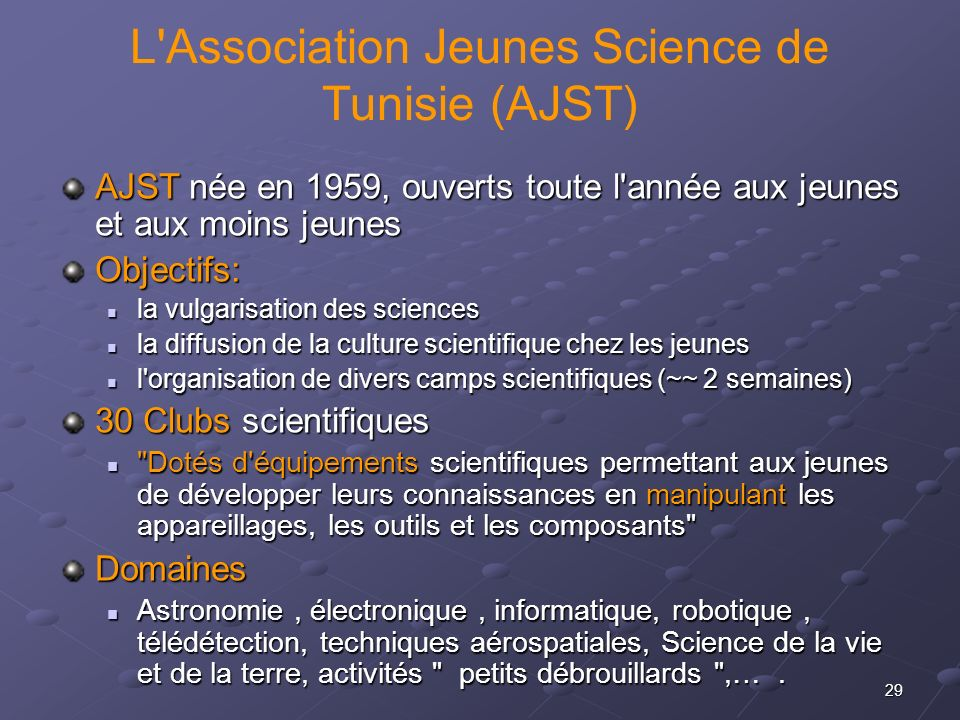 L Association Jeunes Science de Tunisie (AJST)