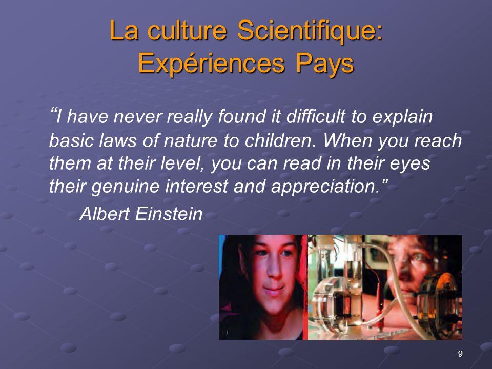La culture Scientifique: Expériences Pays