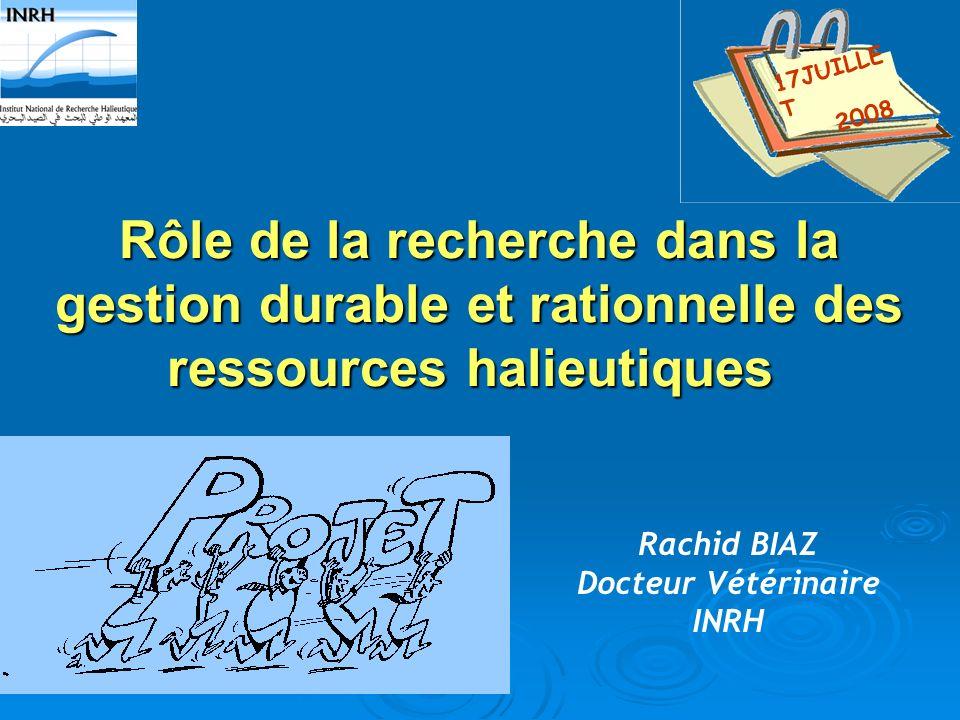 17JUILLET 2008 Rôle de la recherche dans la gestion durable et rationnelle des ressources halieutiques